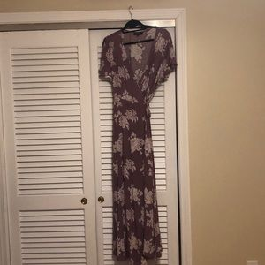 Heart of Marigold Lavender Floral Wrap Maxi Dress